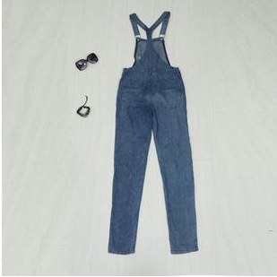 Hole in denim overalls ZBY
