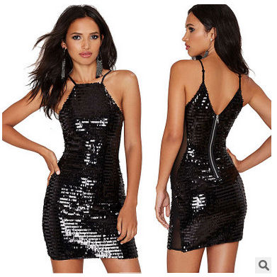 Black Halter Neck Sequins Embellish..