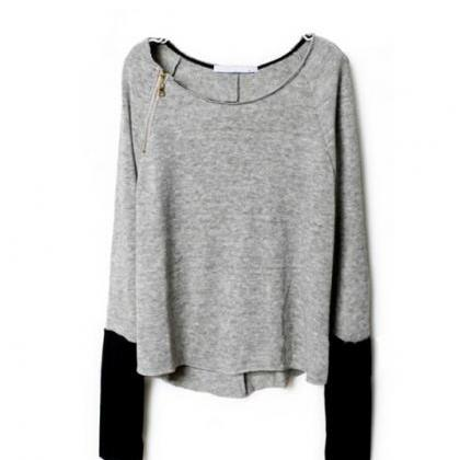 Long-sleeved knit bat sleeve sweate..