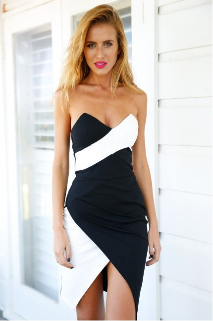Slim Chest Wrapped Package Hip Halter Dress In Black And White Mixed