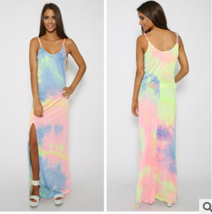 Spaghetti Strap Rainbow Tie-Dye Maxi Dress with Slit
