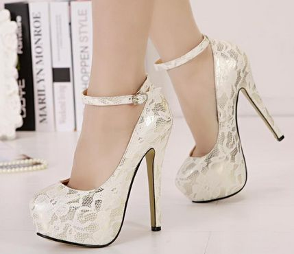 3c2f5e35f09 Classy White Lace Ankle Strap Design High Heels Fashion Shoes on Luulla