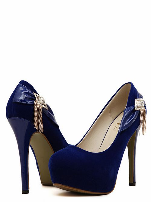 Royal Blue Bow And Diamante Design High Heels Shoes