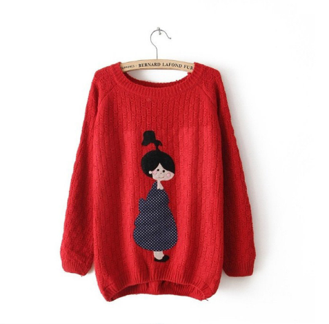 Women's new loose all-match cute little girl sticking cloth knit Pullover female cartoon