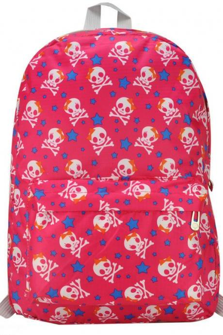 Preppylook Candy Color Star Skull Casual Outdoor Sports College Students Canvas School Backpack