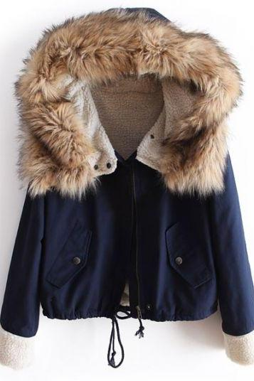Navy Blue Faux Fur Hooded Long Sleeve Drawstring Parka Coat