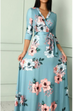 Women's evening dress autumn new seven - point - sleeve V - neck floral print dresses