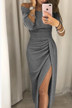 Autumn and winter women's dress bag hip skirt, waist cut off a word collar evening dress