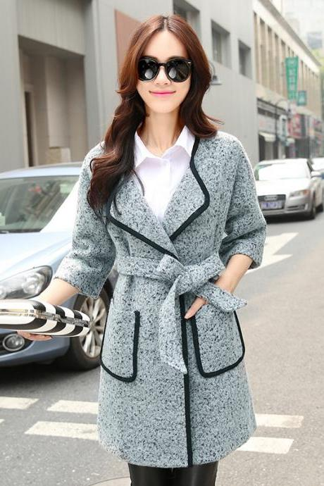New Modern Cashmere Wool Coat Winter Woolen Outerwear For Women