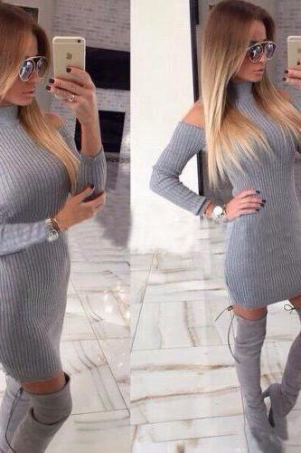 TIGHT GRAY LONG-SLEEVED DRESS