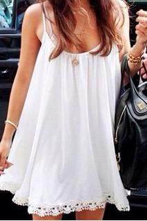 White Low-Cut V -Neck Lace Straps Pleated Dress