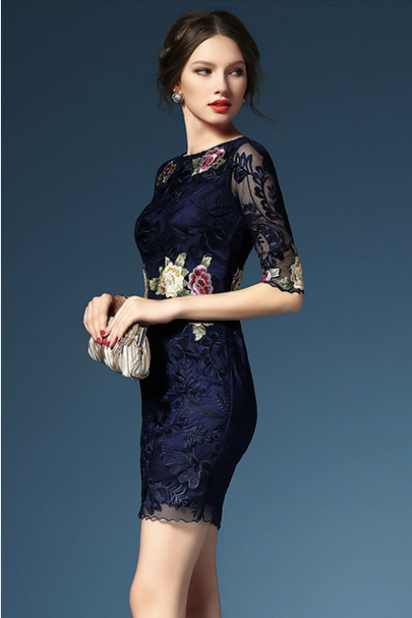Thin gauze heavy embroidered dress dress Cultivate one's morality show thin one pace HL