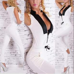 Deep v-neck sexy jumpsuits sleeveless cultivate one's morality ZBY