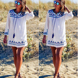 Positioning printing beach party dress