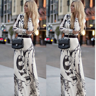 Irregular chiffon printing cultivate one's morality dress long-sleeved dress