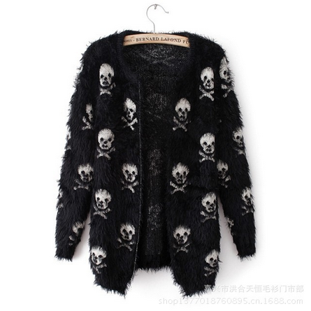 2014 new winter sweater Womens Korean Mohair skull head women's cardigan sweaters